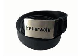 """Ledergurt schwarz mit Schnalle """"Feuerwehr"""""""